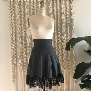 NWOT The Cue Grey Black A-Line Lace Spring Skirt